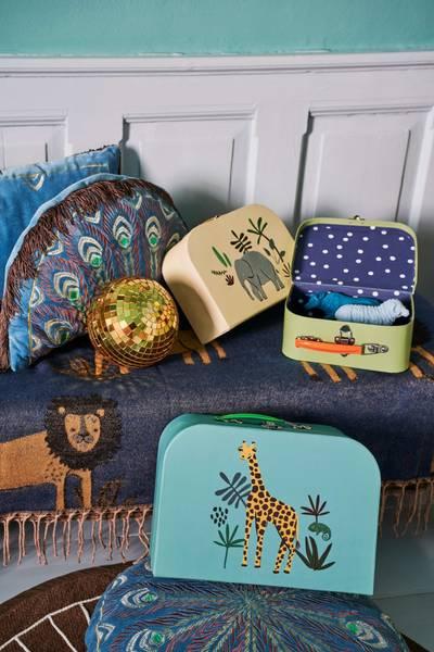 Bilde av TEPPE - Mørkeblå - Jungle Animals Print - Rice